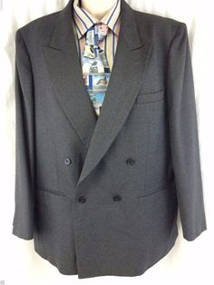 Gray Aldo Conti Italia Sport Coat Lanitex 100% Lana Australiana Double Breasted #AldoConti #DoubleBreasted