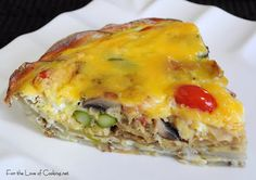 For the Love of Cooking » Mushroom, Asparagus, Bacon, and Tomato Quiche with a Potato Crust