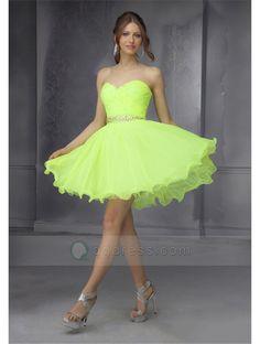 Short A-line Sweetheart Pleated Bust Beaded Waistband Chiffon Homecoming Dress Cheap