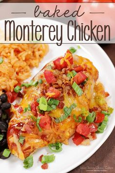 Baked Monterey Chicken - baked chicken slathered with BBQ sauce and topped with two kinds of cheese, bacon, tomatoes, and green onions. Make dinner delicious tonight! --- PIN THIS RECIPE --- We eat a lot Turkey Recipes, New Recipes, Cooking Recipes, Favorite Recipes, Healthy Recipes, Dinner Recipes, Dinner Ideas, Healthy Food, Summer Chicken Recipes