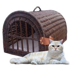 Home Bazaar Medium Wicker Pet House/Carrier - The Home Bazaar Medium Wicker Pet House/Carrier is a multi-talented spot for your kitty or small dog. It's hand-woven in willow, available in ...