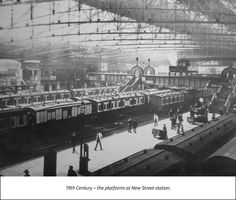 """""""Very busy Birmingham New Street Station in LNWR days. 6 and rolling stock visible here. Birmingham University, Birmingham News, Birmingham City Centre, Birmingham England, Walsall, Train Tickets, Old Street, Best Cities, Britain"""