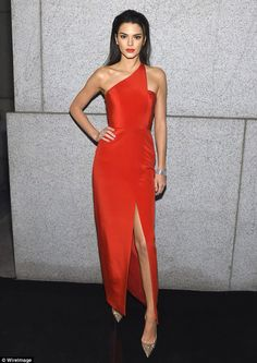 Kendall Jenner in a Romona Keveza AW 2014 gown at the 2015 amfAR New York Gala