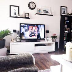 Shelves above TV