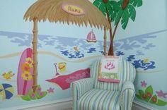 tropical decorating ideas   Tropical Hawaiian Beach Shack Bedroom Wall Mural.