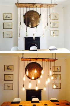 Rustic Wood Chandelier - custom Handmade to order any way you choose. Includes 17 Pendants Choice of Cord Colors Choice of Hardware Colors Choice of Wood Stain HOW TO ORDER: Choose Wood Size and Bulbs from drop down menu Add Personalization note for: Cord Color, Socket Finish, and Wood Stain See