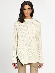 Pre-Fall 2013: 3.1 Phillip Lim Bobble Cable-Knit Combo Sweater