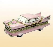 Limoges Pink Cadillac Wedding Car Trinket Box