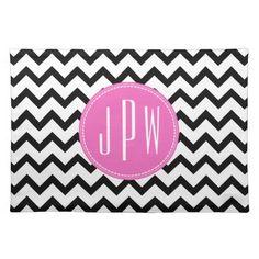 Black Chevron & Pink Monogram Place Mats by Jill's Paperie