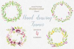 Watercolor Wedding Frames by Fox_studio on @creativemarket