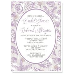I wanted to share with you these Purple Seashell Whitewashed Wood Beach Bridal Shower Invitations? Do you like them?    Light and pretty purple seashell bridal shower invitations for your beach themed celebration. Beach Bridal Shower invitations designed with your shower details personalized and printed in purple and brown, inside a purple outlined white oval. The background of these shower invitations is a lilac purple seashell pattern, with purple, white, and tan circles. The seashells and…