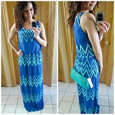 This dress is cute. Love colors and print. Taken from stitch fix review/ jakobe chevron print maxi dress