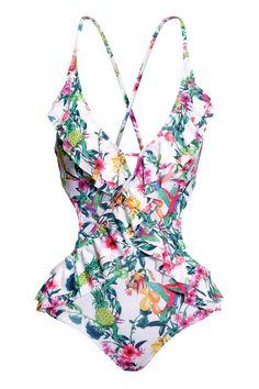 Kostium kąpielowy z falbanami   H&M