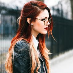 Luanna Perez vintage look. love her red ombre hair, edy style and gorgeous makeup!!!