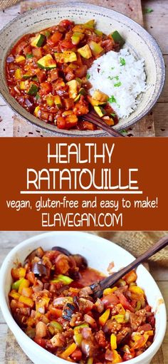 This easy Ratatouille recipe can be made in about 30 minutes. It's low-carb, keto, vegan, gluten-fre Easy Vegan Dinner, Rice Recipes For Dinner, Veggie Recipes, Whole Food Recipes, Cooking Recipes, Veg Recipes Low Fat, Easy Recipes, Low Calorie Vegan, Low Calorie Recipes