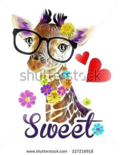 T-shirt Graphics / illustration cute giraffe / Funny giraffe's face isolated / Giraffe head face look funny isolated on white background