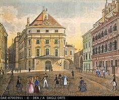 Corinthian Gate Square and the Kaerntnerortheater in Vienna, Austria 18th Century