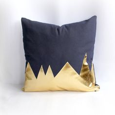 """A touch of gold glam for the couch with this """"Mountains Navy & Metallic Gold Pillow Cover"""" by northwestdecor"""
