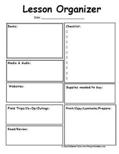 Lesson Organizer Prep Sheet... Omg Where Have You Been All My Life!  Free Lesson Plan Format