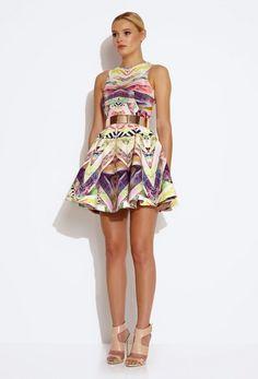 Hollie Full Skirt Mini Dress - Digital Print | AQ/AQ