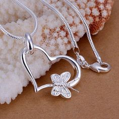 wholesale silver plated pendant,925 fashion Silver jewelry butterfly heart pendants necklace for women/men +chain SP090