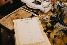 Industrial wedding Prague - menu design, foto / Couple of Prague