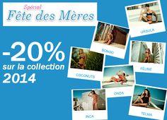 Pour la fête des mères 2015: -20% sur toute la collection 2014 #maillotdebain #été2015 #bluelosbter