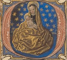 Master of the Dresden Prayer Book, illuminator (Flemish, active about 1480 - 1515), Initial O: Madonna of Humility, Flemish, about 1480 - 1485 ?, Tempera colors and gold on parchment, Leaf: 20.5 x 14.8 cm (8 1/16 x 5 13/16 in.), Ms. 23, fol. 42. Source: J. Paul Getty Museum