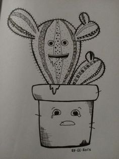 Cactus and pot doodle
