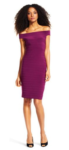 Adrianna Papell off the shoulder banded dress | Simple and so chic, this banded dress is the perfect piece for your next cocktail party. This party dress features a straight neckline, figure-hugging banded, and an exposed zip back. This gorgeous party dress is easily complete with your favorite pumps and accessories.