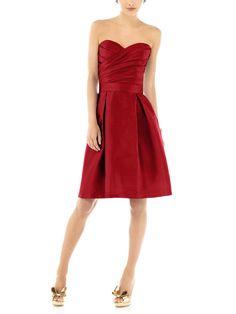 DescriptionAlfred Sung Style D538Cocktaillength bridesmaid dressStrapless sweetheart necklinePleated wrapped bodiceMatching belt at natural waistPleatedAline skirtPocketsPeau de Soie