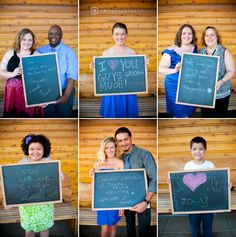 Instead of having guests sign a guestbook, have a photo of them with the wishes they made written on a chalkboard. Photo by C2 Photography, idea by the one creative bride, Kiera.