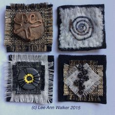 """Lee Ann Walker, 8-2"""", 3/11/2015. Clockwise- Moeraki Boulders, TSS Earnslaw, Glowworm Cave, Yellow-eyed Penguins. Found objects applied to various fabrics over two inch commercial felt base, threads, beads."""