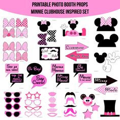 ♥ This set of Photobooth props has 21 pages and includes: 1 Clubhouse 1 Mickey Ears 1 Minnie Ears 2 Mouse Balloon Toppers 10 Bows 1 Toodles 1 Top Hat 8 Glasses 5 Mustaches 5 Lips 2 Gloves 2 Stars 4 Arrow Signs 8 Speech Bubble Signs 1 Table Sign and instructions
