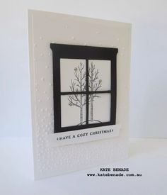 Black & White Christmas Week - Day 2.  Kate Benade Stampin' Up! Demonstrator Melbourne Australia, 2015 Stampin' Up! Holiday Catalogue, Home and Hearth Thinlets Die, White Christmas stamp set, Cozy Christmas stamp set, Softly Falling Embossing Folder