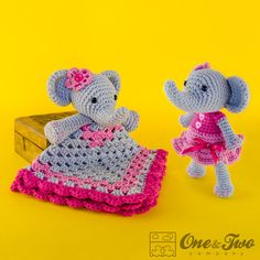 Combo Pack Elephant Lovey and Amigurumi Set by oneandtwocompany