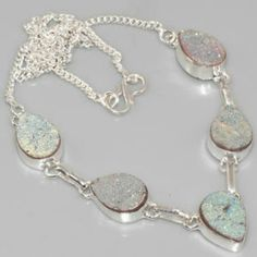 .925 19.5 Inch Irredescent Snow Druzy Nevklace .925 Sterling Silver Irredescent Snow Druzy Necklace 19.5 Inch. Jewelry