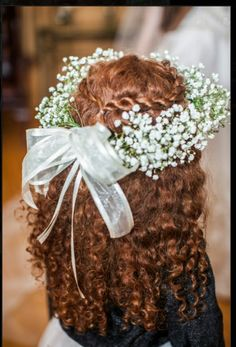 Flower girl, babies breath wreath, curly, red hair.