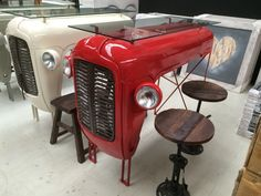 Car Furniture, Automotive Furniture, Funky Furniture, Repurposed Furniture, Rustic Furniture, Furniture Design, Modern Decorative Objects, Old Bicycle, Coffee Shop Design
