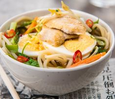 A #Miso based #soup that is made of #Ramen #Noodles. This #Japanese recipe is one of he popular flavours of Ramen with a variety of vegetables, all topped with crispy stir-fried #chicken.