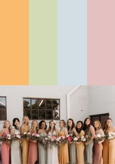 Looking for tips on styling mismatched bridesmaid dresses? Check out these color palettes to help you bring your vision together!    Image by Valerie Thompson Photography Bridesmaid Dresses Different Colors, Fall Wedding Bridesmaids, Mismatched Bridesmaid Dresses, Blue Bridesmaids, Bridesmaid Flowers, Wedding Wear, Wedding Dresses, Spring Wedding Colors, Spring Wedding Inspiration