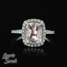 Rectangular Cushion Cut Light Pink Morganite and Diamond Engagement Ring - LS2110. $2,474.25, via Etsy.