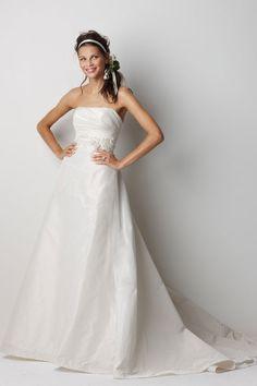 Fashionable A-line empire waist taffeta wedding dress
