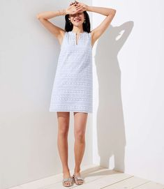 Striped Eyelet Shift Dress | LOFT