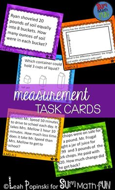 Sixty self-checking Measurement Task Cards for fourth and fifth grades. Standards aligned. There are twelve task cards for each of these concepts: ★distances ★intervals of time ★liquid volume ★masses of objects ★money These task cards can be used in so many different ways. Use them for morning work, at centers, as a review, for scoot, and more.