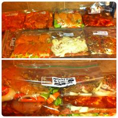 """Freezer to crockpot meals - In less than three hours; Meals include: BBQ chicken, BBQ pulled pork, carnitas meat for tacos, marinated chicken and veggies, marinated steak for salad, turkey chili, turkey breast and veggies. All the recipes came from pins on my """"Freezer meals"""" board."""