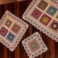 Love this edging! Crochet Granny, Crochet Motif, Crochet Doilies, Crochet Square Patterns, Crochet Table Runner, Crochet Cushions, Bohemian Rug, Diy And Crafts, Product Description