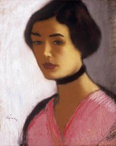 Woman in Pink Dress and Black Collar, Jozsef Rippl Ronai drawing (1861-1927, Hungary)
