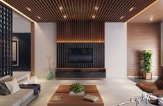 Lines on ceiling merge vertically with fireplace  - Vertical Interior Design