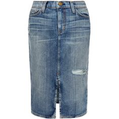 Current Elliott The Highwaist Pencil Skirt (7.095 RUB) ❤ liked on Polyvore featuring skirts, denim, blue, blue skirt, blue midi skirt, high waisted knee length skirt, blue knee length skirt and pencil skirt